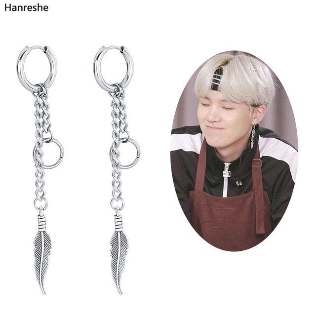 1x Men Women Stainless Steel Ear Chain Cross Feather Drop Dangle Earrings