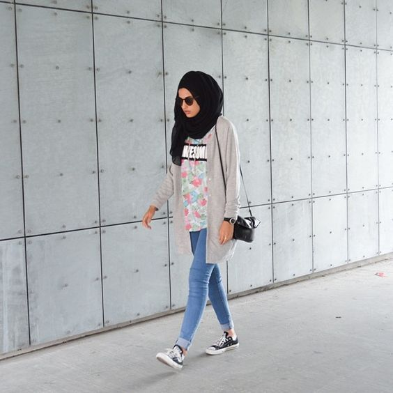 casual, fashion, style, jeans, hijab