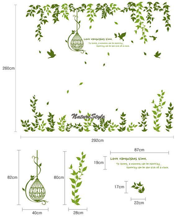 Verde rama con pájaros volando y etiqueta de la por NatureStyle