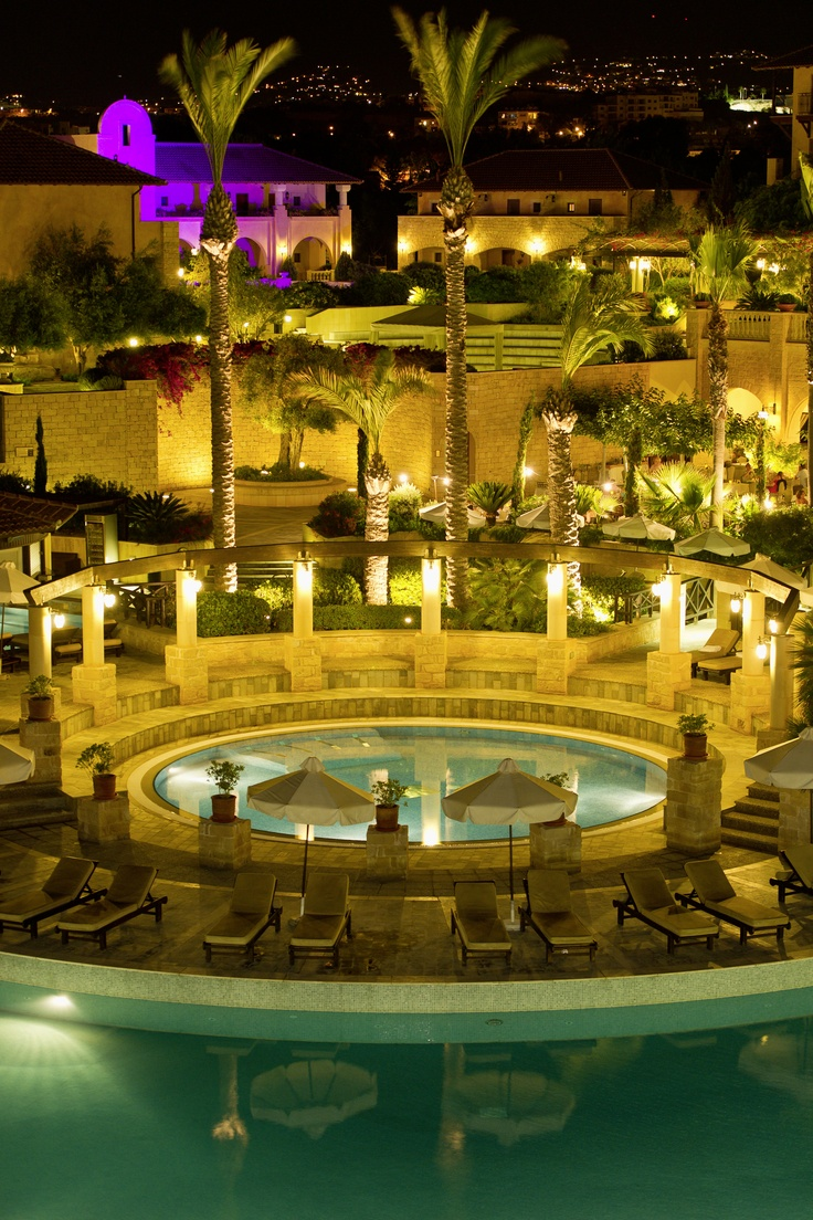 Pool Grounds at night, at the Elysium – 5 Star hotel in Cyprus