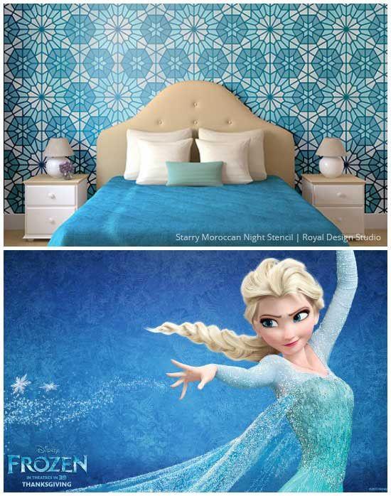 Marroquí Muro Stencil Frozen Inspirado Girls Dormitorio Decoración