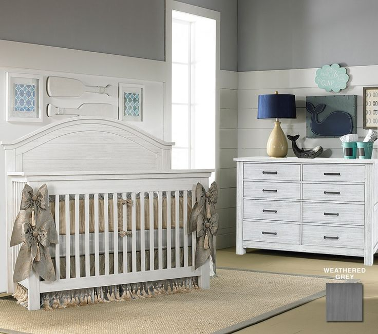 Dolce Babi Lucca 2 Piece Nursery Set Crib And Double Dresser In Weathered Grey