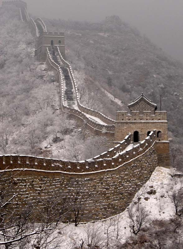 Winter at Great wall of China by Simatai, Miyun County (northeast of Beijing), China. This part is to be reopened late 2012 (Went there and ziplined off).