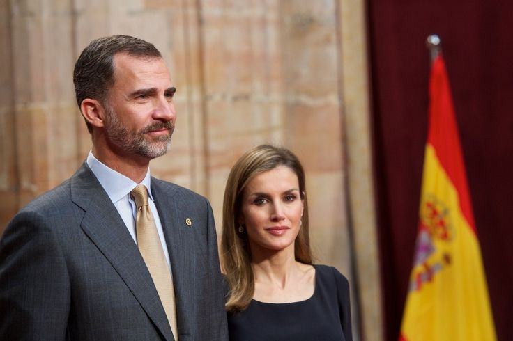 King Felipe VI of Spain and Queen Letizia of Spain attend an audience with Principe de Asturias Awards 2014 winners at the Reconquista Hotel during the Principe de Asturias Awards 2014 day 2 on October 24, 2014 in Oviedo, Spain.