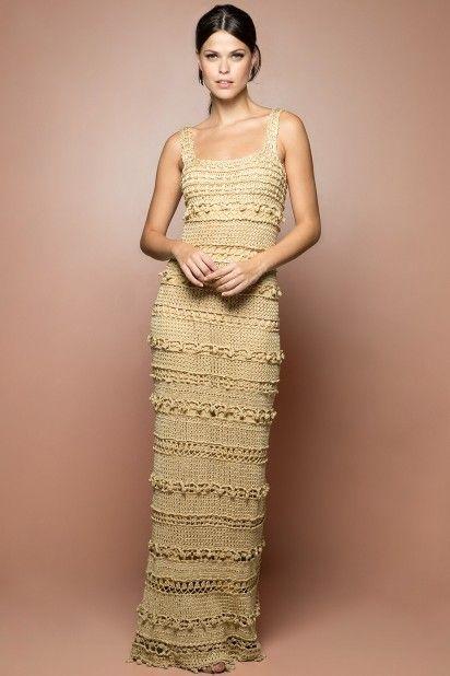 Vestido Crochet Longo Monaco Preto - Vanessa Monto - vanessamontoro