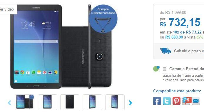 """Tablet Samsung Galaxy Tab E 8GB 96"""" Wi-Fi T560  Fone Ouvido Bluetooth Level U << R$ 68090 >>"""