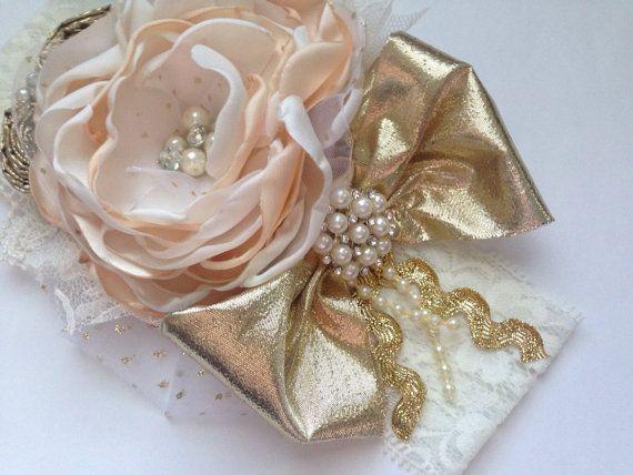 Diadema de la couture vainilla francesa sobre por ChloeRoseCouture