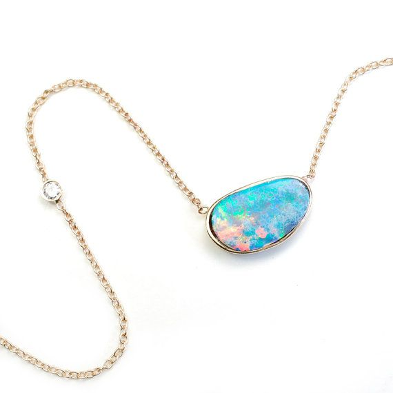 A beautiful piece by one of my all time favorite designers!  Opal Necklace Opal Diamond Necklace Blue Opal Necklace by NIXIN, $460.00