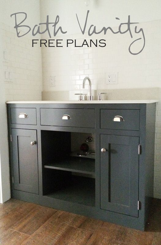 Simple Gray Bath Vanity   drawer plans for guest bathroom. 17 Best ideas about Open Bathroom Vanity on Pinterest   Diy