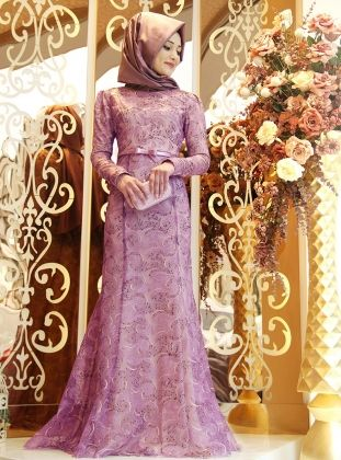 Lilas Evening Dress - Lilac - Gamze Polat