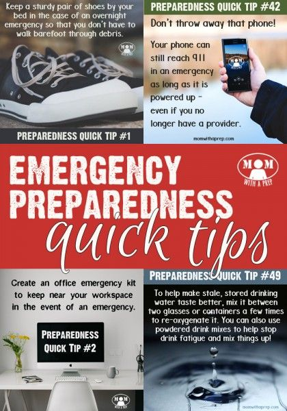 Mom with a PREP's Emergency Ppreparedness Quick Tips -- a collection of short, quick steps to keeping your family prepared for any emergency – that you can accomplish in as little as two minutes.