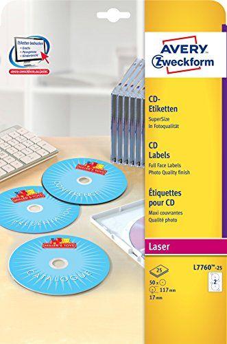 Avery Zweckform L7760-25 CD-Etiketten (A4, 50 St�ck, hochgl�nzend, � 117 mm) 25 Blatt wei�