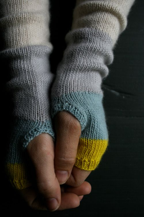 Line Weight Colorblock HandWarmers - The Purl Bee - Knitting Crochet Sewing Embroidery Crafts Patterns and Ideas!