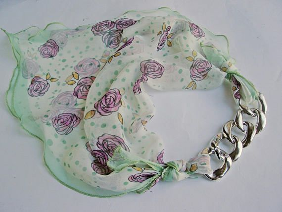 sale in my Etsy shop all scarves are -20% #Mint floral scarf chain scarf silk mint scarf purple rose