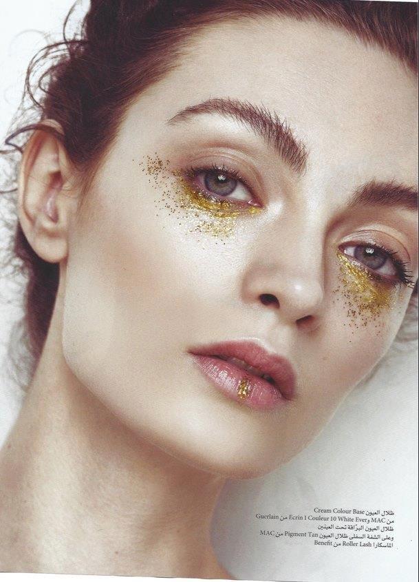 gold glitter makeup Joanna Stachniak by Greg Adamski for Festive Magazine