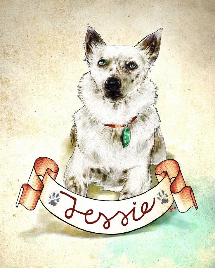 Commissioned portrait of Jessie :)  Commission info & requests: https://www.etsy.com/au/listing/191989009/custom-pet-portrait-beautiful-digital?ref=shop_home_active_2