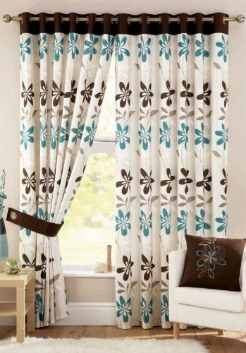 April Retro Teal Blue Chocolate Brown Cream 46 X 72 Floral Flowers Ring Top Dining Room CurtainsBedroom