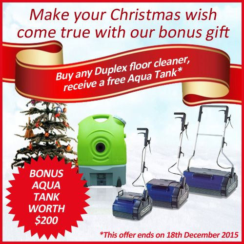 Grab a bonus Aqua Tank steam cleaner valued at $200 this Christmas, when you purchase any Duplex floor cleaner from us. This offer ends on 18th December 2015. For more information, visit http://duplexcleaning.com.au/christmas-promotion-2015.html #christmas2015 #free #bonus #gift