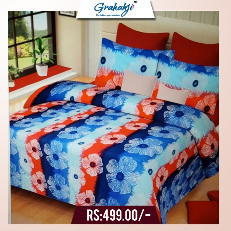 3D DOUBLE BEDSHEETS WITH 2 PILLOW COVERS #bedsheets #home #furnishing #cotton #pillow #cover #online #shopping #grahakji