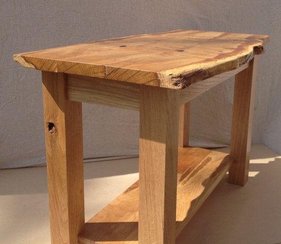 Live Edge Table Oak Coffee Table Waney Edge Coffee Table End Table Solid Oak Table Rustic Coffee Table Live Edge Furniture