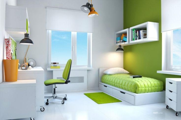 Gestaltung im Trend: Kinderzimmer für Jungen 2015-Grüne Wand, Stuhlsitz und Bettdecke