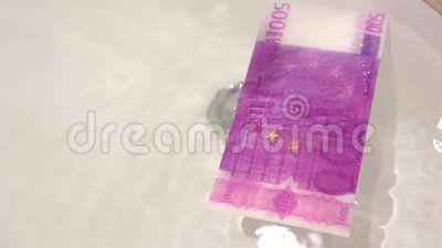 Laundry money - 500 euro banknote washed.