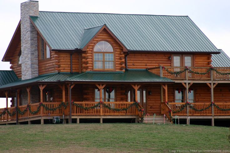 Log home wrap around porch home decor log home ideas for Full wrap around porch log homes