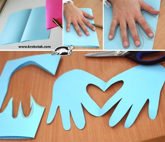 """Mother's Day card-Trace hands to form heart shape when unfolded. Glue onto solid background. """"I hold you in my heart"""" """"Here's my heart"""" """"I give you my heart"""" """"Your heart is in all you do for me"""""""