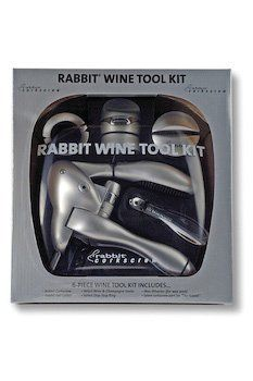 Wine Tool Kit By Rabbit by WineUltra.com. $53.55. Wax Whacker and Airtight Wine, Champagne Stopper.. Drip-Stop Ring, an extra worm.. Black or Silver.. Deluxe Foil Cutter.. Set includes the Rabbit Corkscrew.. Wine Tool Kit By Rabbit Set includes the Rabbit Corkscrew, Deluxe Foil Cutter, Wax Whacker and Airtight Wine, Champagne Stopper, Drip-Stop Ring, and an extra worm. Black or Silver.