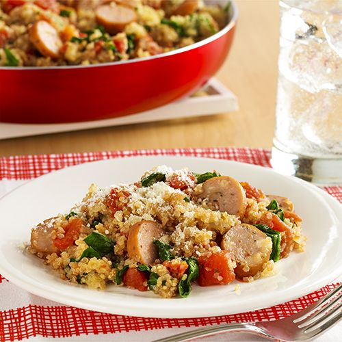An Italian chicken sausage skillet recipe includes quinoa, seasoned tomatoes, fresh spinach and Parmesan cheese