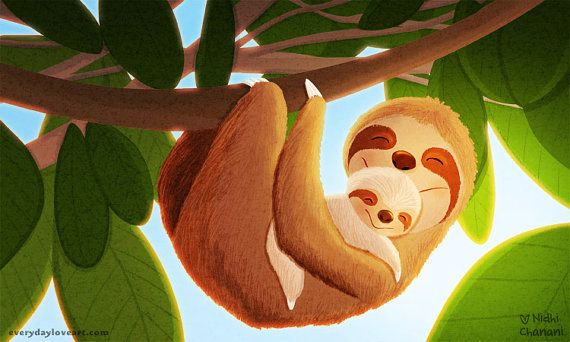 "Sloth Art, Nursery wall art, Kids Art, Art for Nursery - ""The Slow Life"""