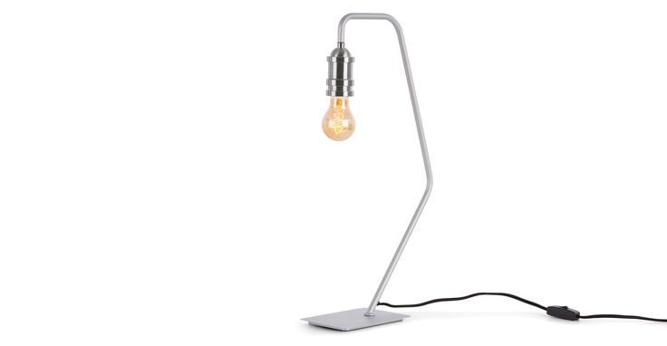 Starkey Table Lamp, Grey and Nickel | made.com