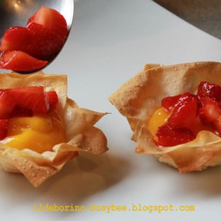 Fillo Pastry Baskets diy with Lemon Curd and Strawberries