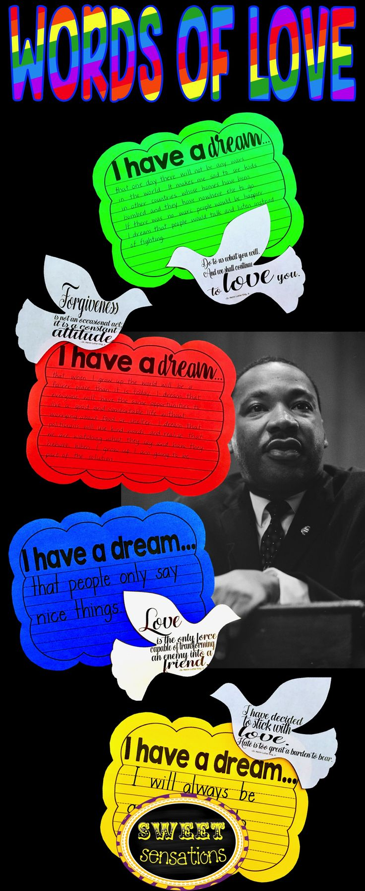 """Martin Luther King craft activity - doves on rainbow clouds - students write their own """"I have a dream..."""" statements."""