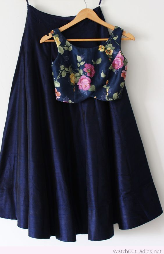 Long navy skirt with floral crop top