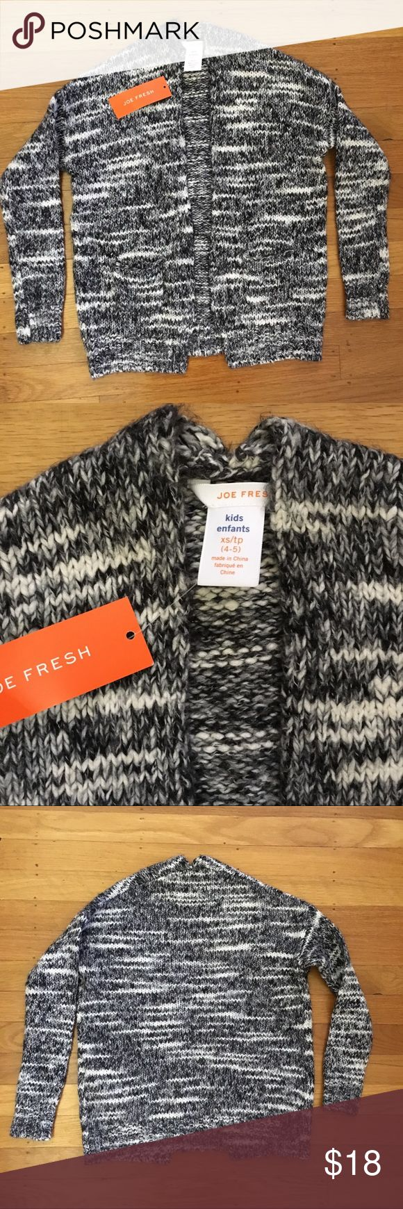 Joe Fresh Kid cardigan Black white and grey marled open front sweater with front pockets Joe Fresh Shirts & Tops Sweaters
