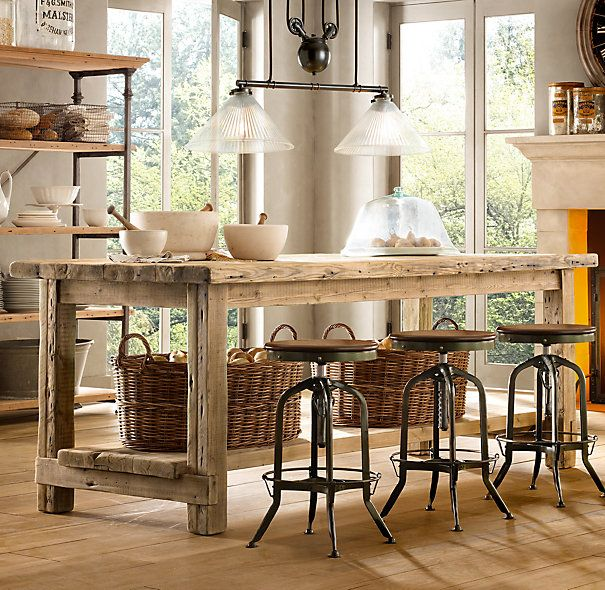 Salvaged Wood Kitchen Island Small