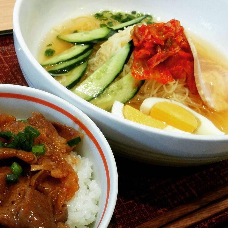 冷麺風カペリーニと牛カルビ丼 冷たい麺が嬉しいね()ニヤニヤ