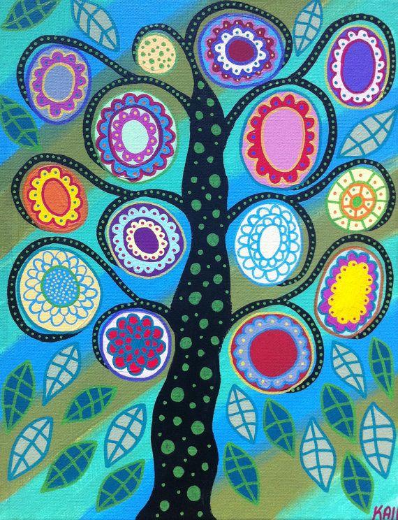 Ambrosino Art NEEDLEPOINT Mexican Folk Art  Aqua Tree of Life Flowers via Etsy