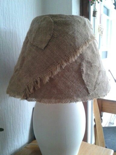 Upcycled lamp shade covered in hessian