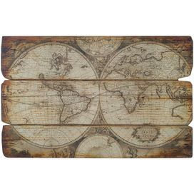 "Add an antique-inspired touch to your living room or foyer with this charming wall decor, showcasing an Old World map design.    Product: Wall decor  Construction Material: Wood  Features: Offers handsome dimension to any room     Dimensions: 29"" H x 47"" W x 0.75"" D"