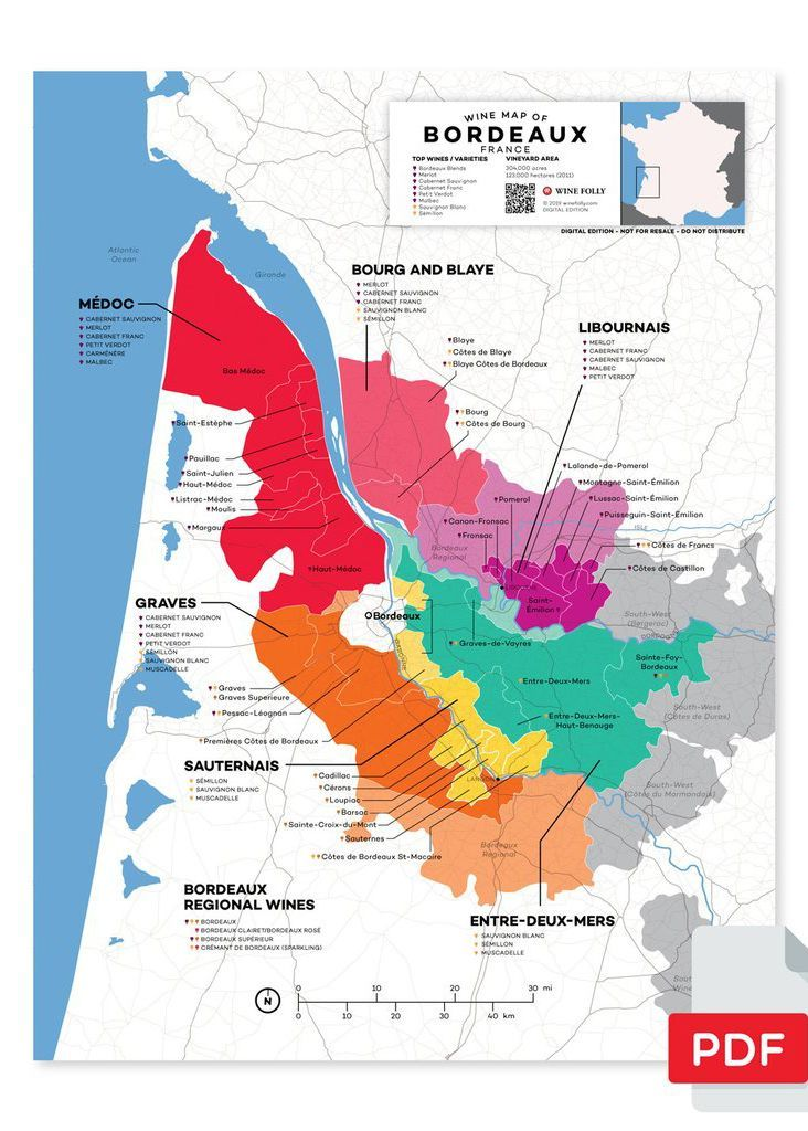 Map Of France Pdf.France Bordeaux Wine Map In 2019 From Our Official Store