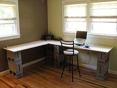 Office desk, using cinder blocks - need to incorporate the file cabinet and maybe paint the block.