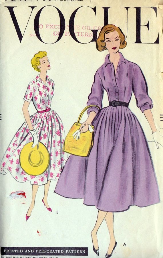 1950s Misses Shirtwaist Dress Vintage Sewing Pattern, Vogue 9247