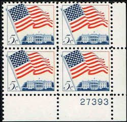 US #1208 Stamps for sale  5 cents Flag over White House Stamps  Plate Block of 4 Stamps  LR 27393  US 1208-6