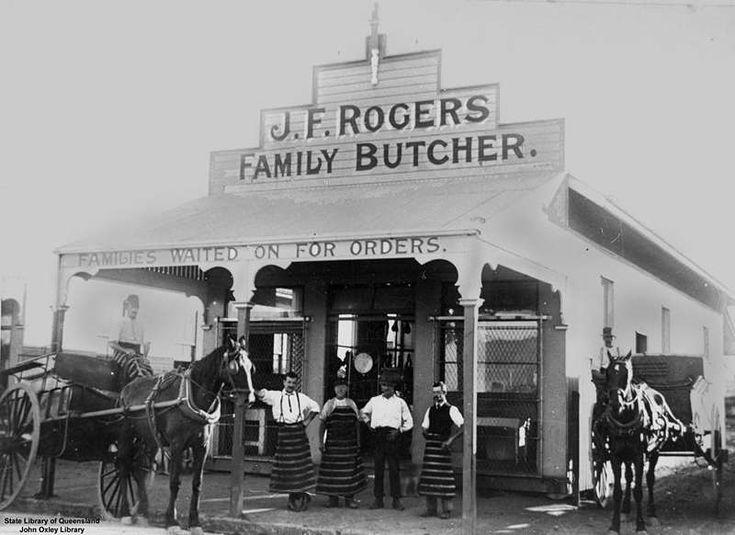 Picture of / about 'Brisbane' Queensland - J. F. Rogers' Family Butcher shop, Stones Corner, Brisbane, Queensland