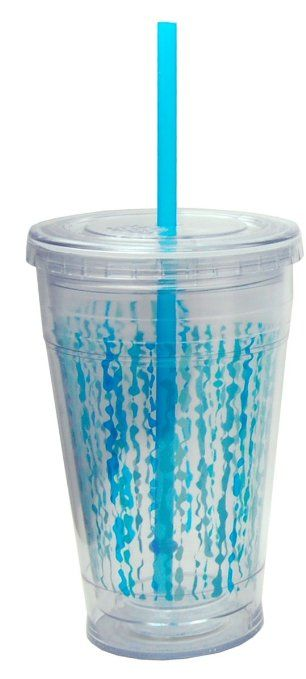 Cool Gear 600 ml Printed Chiller Cup with Straw, Blue: Amazon.co.uk: Kitchen & Home