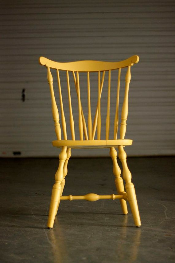 Vintage Yellow Spindle Back Chair by TheSouthernMermaid on Etsy, $75.00