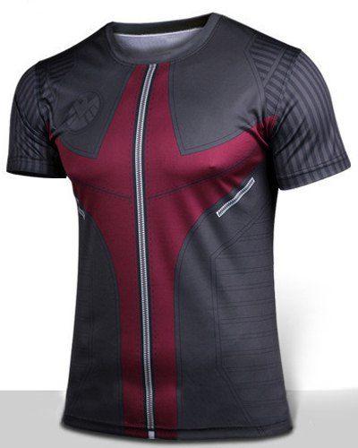 Slimming Hawkeye Movie Character Costume Print Round Neck Short Sleeve T-Shirt For Men