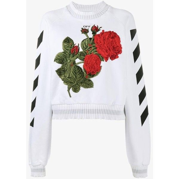 Off-White Off-White Rose-Embroidered Sweatshirt ($684) ❤ liked on Polyvore featuring tops, hoodies, sweatshirts, off white tops, embroidery top, cotton sweatshirts, embroidered cotton top and rose tops